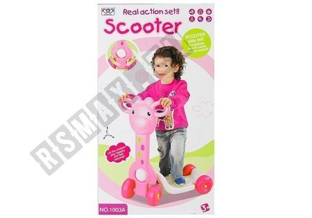 4 Wheeled Kids Scooter Giraffe Shaped Stable Colorful Children's Toy Pink