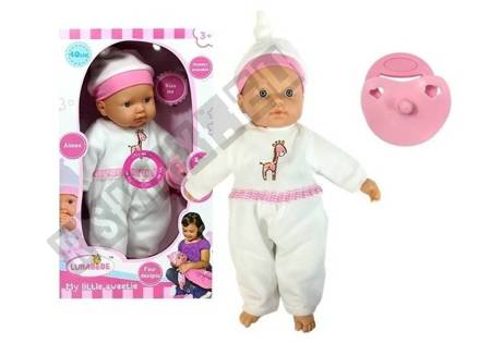 Baby Doll in white pajamas with a pacifier