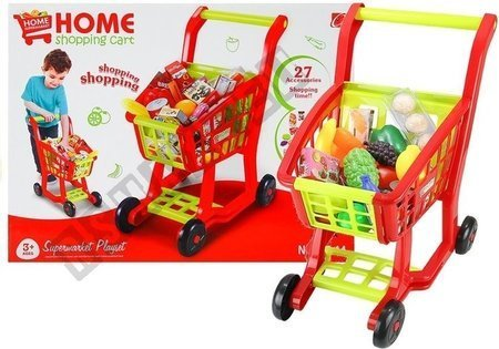 REALISTIC ROLEPLAY SET HOME SHOPPING CART  27 PCS ACCESSORIES GROCERY