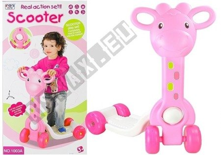 4-fach Kinder Roller Giraffe geformte stabile bunte Kinderspielzeug rosa