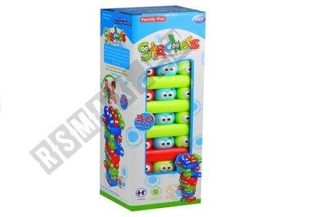Jenga (Spiel) mit bunten Würmchen Turm 30 bunte Klötze Würfel Spiel für Kind