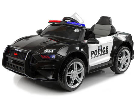 Kinderauto BBH0007 Polizei Schwarz EVA-Reifen Ledersitz