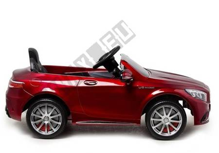 Kinderauto Mercedes S63 Rot lackiert EVA-Reifen Ledersitz LED Frontscheinwerfer