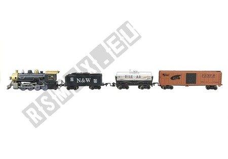 Lok Lokomotiv 3 Waggons Eisenbahngleise Verkehrszeichen Lok für Kinder Baum Set