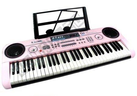 Keyboard Organy 328-06 Mikrofon Zasilacz Różowe
