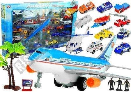 Lotnisko Duży Zestaw 41 Elementów Samolot Autka