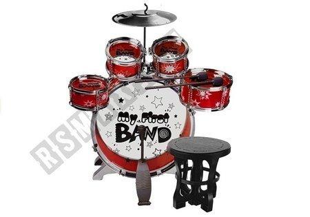 Perkusja 5 Bębnów z Krzesełkiem Talerz Czerwona