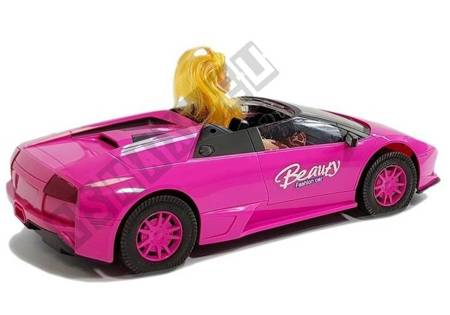 Samochód Sportowy z Lalką Ciemny Róż